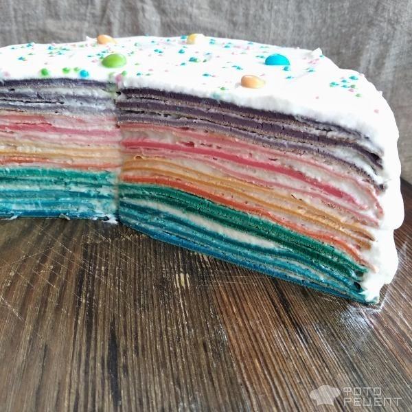 Рецепт: Блинный торт Радуга - С яблочно-сливочным кремом